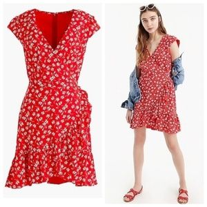 ❤️ J. Crew Red Floral Faux Wrap Mini Dress